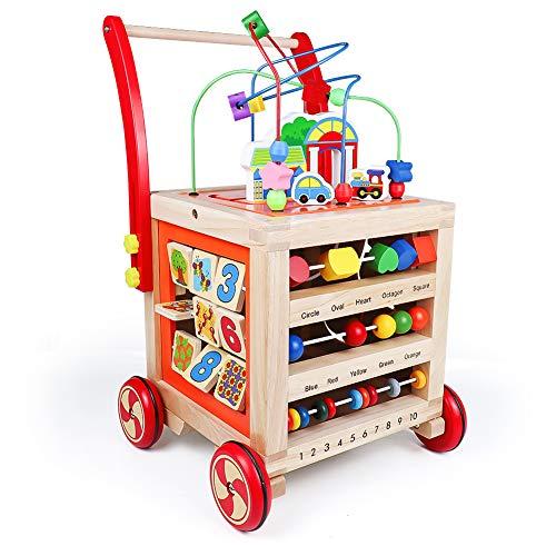 Lauflernwagen Baby Holz Lauflernhilfe-Laufwagen Gehhilfe Laufhilfe Baby Spielzeug ab 12 Monate,Baby Walker...