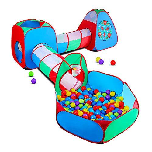 STLOVe Spielzelt Kinderzelt Angepasst Babyzelt mit krabbeltunnel(Ohne Bälle) 5-Teiliges Bällebad Spielhaus...