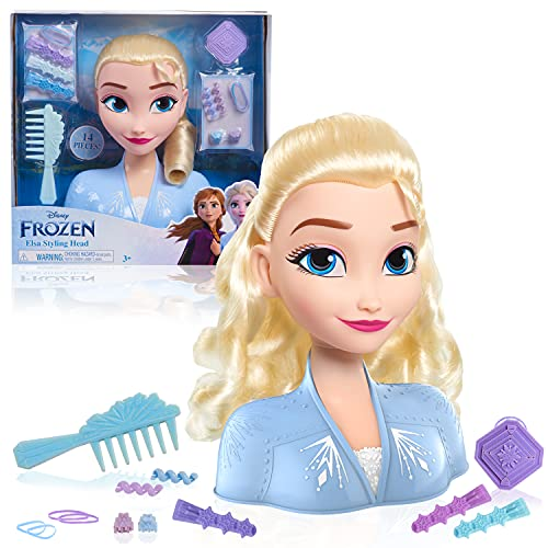 Just Play Frozen II Stylingkopf ELSA 20 cm mit Zubehör 13 Haar-Accessoires, 32806