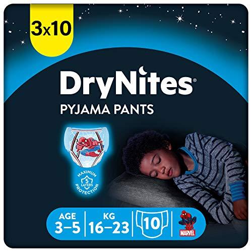 DryNites saugfähige Nachtwindeln bei Bettnässen, Für Jungen 3-5 Jahre (16-23 kg), 30 Stück, Monatsbox