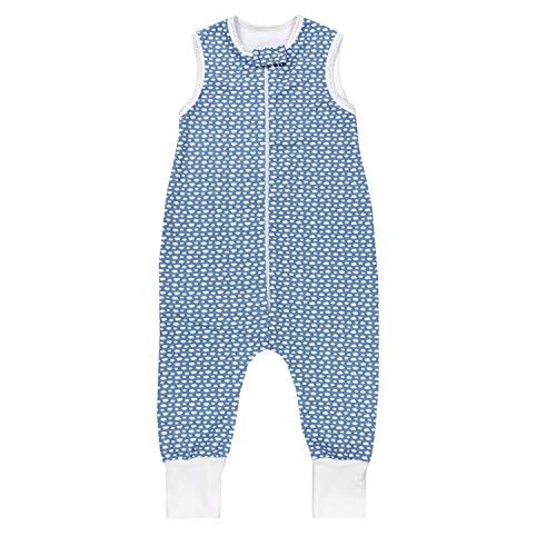 TupTam Unisex Babyschlafsack mit Beinen Unwattiert, Farbe: Blau/Weiße Wolken, Größe: 80-86