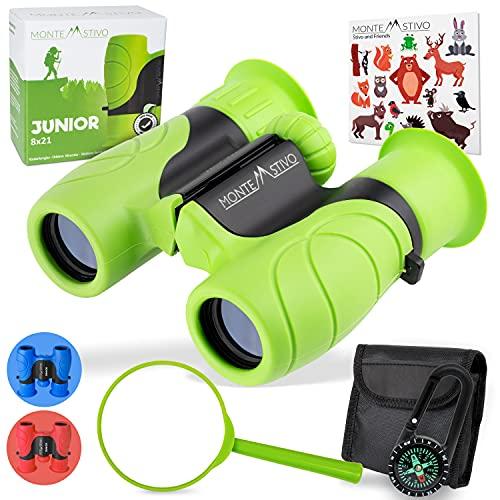 Monte Stivo® Junior   Vergleichssieger Fernglas für Kinder 8x21 mit Lupe & Kompass   Geschenk-Set Spielzeug...