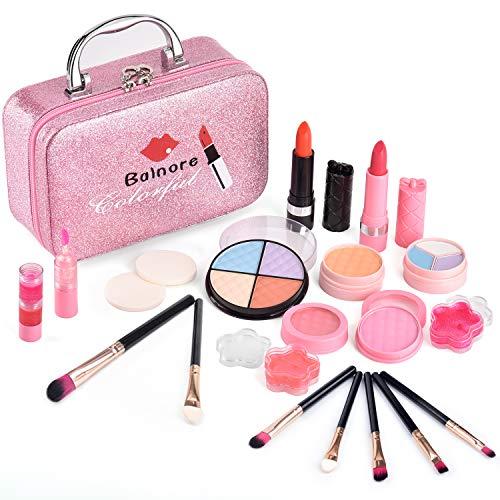 balnore Kinderschminke Set Mädchen 21 Stücke Waschbar Schminkset Kinder mit Schminkkoffer Mädchen Makeup...