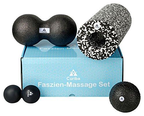 4 in 1 Faszien Set inkl. Anleitung - 3 Massagebälle (Einzelball 10 cm, Großer Duoball, Kleiner Duoball) &...