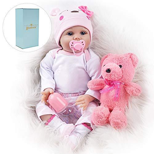 Yesteria Reborn Babys Puppe Lebensechtes Mädchen Kleinkind Silikon Rosa Outfit 55 cm