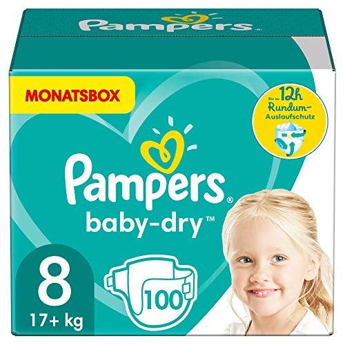 Pampers Windeln Größe 8 (17+kg) Baby Dry, 100 Stück, MONATSBOX, Bis Zu 12Stunden Rundum-Auslaufschutz