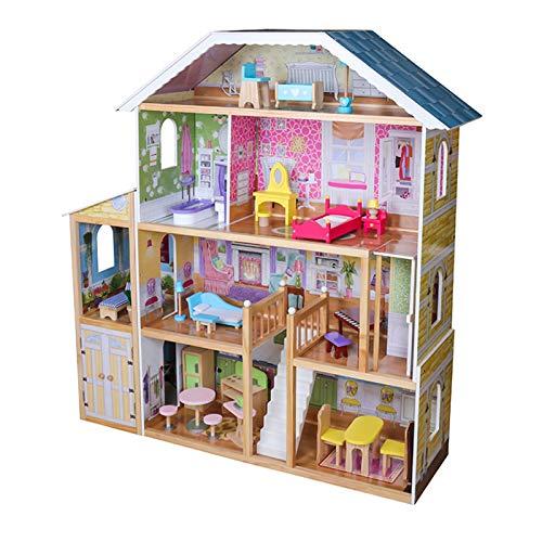 Infantastic® Puppenhaus aus Holz - XXXL, 4 Spielebenen, Spielset mit Möbeln und Zubehör, für 30 cm große...