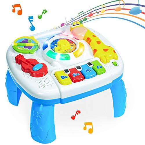 HERSITY Musikspielzeug Spieltisch Baby Lerntisch Musikalische Aktivitäten mit Beleuchtung und Sound Activity...