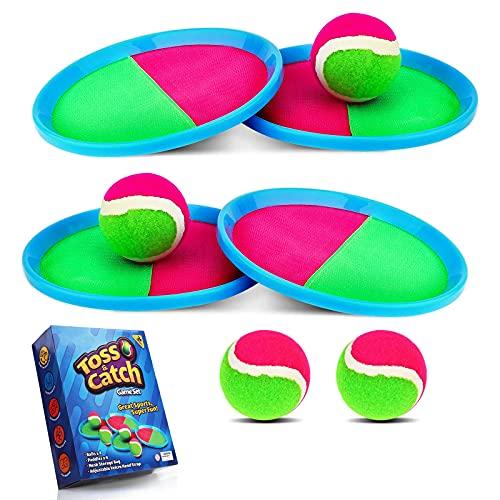 Weokeey Klettballspiel für Kinder, Strandspielzeug Kinder Klettball Set mit 4 Paddles und 4 Bällen...