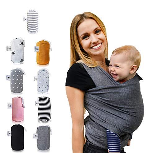 Fastique Kids® Tragetuch - elastisches Babytragetuch für Früh- und Neugeborene + Anleitung (5,2m x 0,55m,...