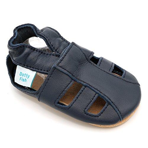 Dotty Fish Weiche Baby und Kleinkind Lederschuhe. Jungen und Mädchen. Sandalen Marineblau. 0-6 Monate (17 EU)