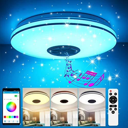 LED Deckenleuchte Dimmbar 36W, GGHKDD 2 silberne Drähte Stern Deckenlampe APP Fernbedienung Bluetooth...