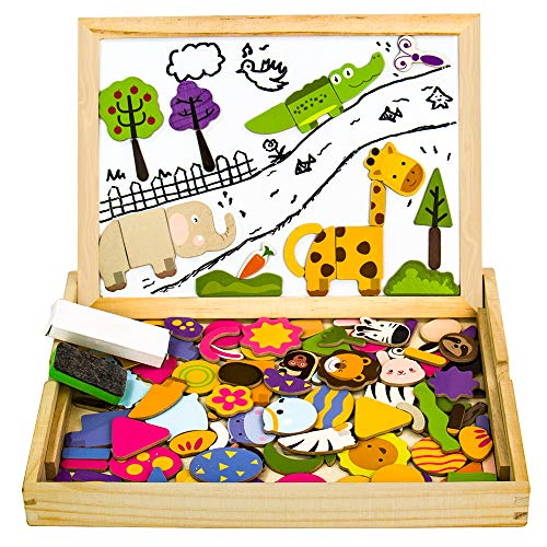 Magnettafel Kinder Lernspiele Puzzle Magnetspiel Montessori Spielzeug Holzpuzzle für Mädchen Jungs ab 3 4 5...