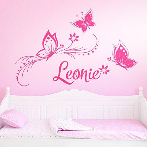 Wandaro Wandtattoo Wunschname mit Blüten & Schmetterlingen I pink (BxH) 84 x 57 cm I Kinderzimmer Wandsticker...