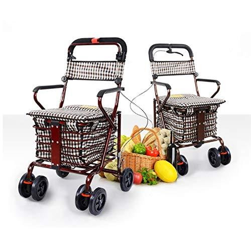 GWXTC Faltbarer Bollerwagen Old Man Folding-Einkaufswagen, Schiebewagen Old Man 4 Räder Lebensmittel...