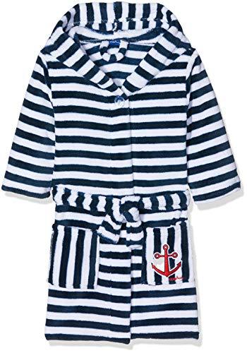 Playshoes Kinder Fleece-Bademantel Ringel Maritim Accappatoio, Blu (Marine/Weiß 171), 98/104 Bambino