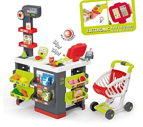 Smoby - Supermarkt mit Einkaufswagen - Spielsupermarkt mit Licht, Sound und Elektronischen Funktionen, für...
