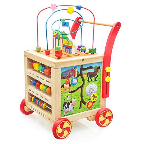 Lauflernwagen Holz Lauflernhilfe Laufwagen Holzspielzeug Höhenverstellbar Pädagogisches Babyspielzeug für...