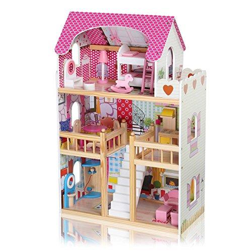 Baby Vivo Puppenhaus Zubehör Holz Möbel Puppen Küche Geschirr inkl. Möbeln Treppe Bett 17 Teile...
