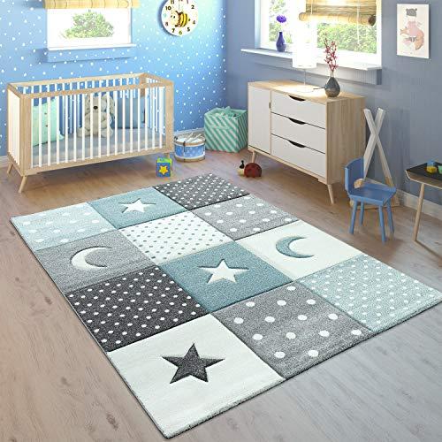Paco Home Kinderteppich Pastellfarben Kariert Punkte Mond Sterne Weiß Grau Blau, Grösse:120x170 cm
