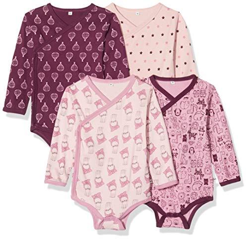 Pippi Unisex Baby 4er Pack Wickelbody mit Aufdruck, Langarm Formender Body, Violett (Lilac 600),...