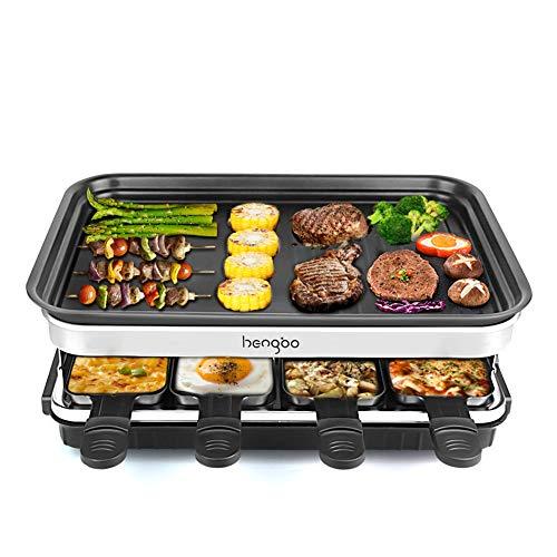 Raclette Grill für 8 Personen, 8 Mini Raclette Pfännchen zum Kochen von Käse und Beilagen & Ein Holzspatel...