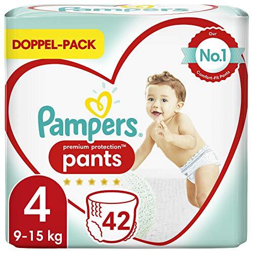 Pampers Baby Windeln Pants Größe 4 (9-15kg) Premium Protection, 42 Höschenwindeln, Komfort und Schutz Für...