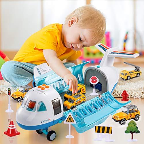 Temi Mist Spay Lagerung Transport Flugzeug Fracht mit 6 Freilauf-Druckguss-Baufahrzeugen und Spielmatte, Toy...