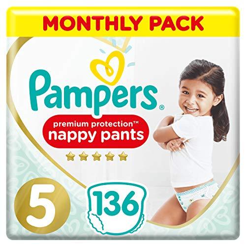 Pampers Premium Protection Windelhose Gr. 5, 136 Windelhosen, 12-17 kg, Monatspackung, sanftes Hautgefühl in...
