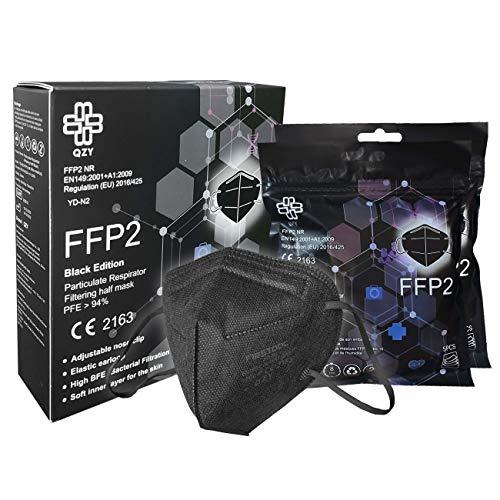 FFP2 Maske Schwarz [Black Edition] Schachtel à 10 Stück CE Zertifiziert Masken Mundschutz, Mit Gummiband und...