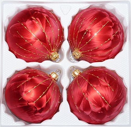 4 tlg. Glas-Weihnachtskugeln Set 10cm Ø in 'Ice Rot Gold' Regen- Christbaumkugeln -...