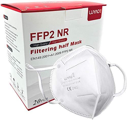 LUYAO Atemschutzmaske FFP2 Maske - EU CE 2163 Zertifiziert EN 149 Schutzmaske 20 Stück WEIß