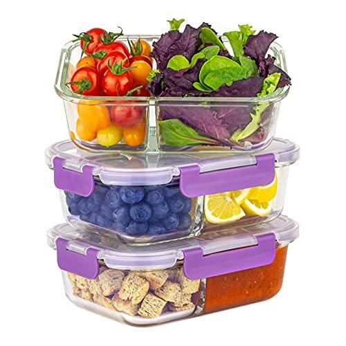 Home Planet® Meal Prep Boxen Glas Doppelfach   1050ml 3er Set   Keine Kunststoffverpackung   Verbesserter...