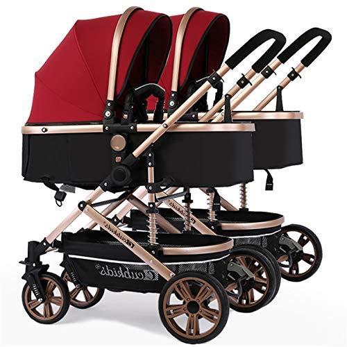 Zwillingskinderwagen Kombi, faltbarer Doppelsitz-Tandemwagen mit verstellbarer Rückenlehne, Reisesystem für...