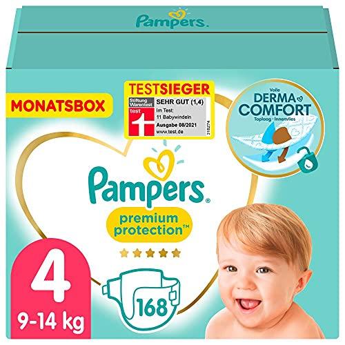 Pampers Baby Windeln Größe 4 (9-14kg) Premium Protection, 168 Stück, MONATSBOX, Pampers Weichster Komfort...