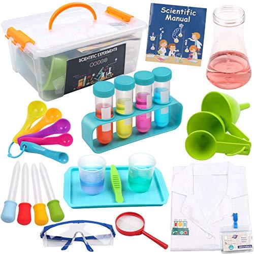 DigHealth Experimentierkasten mit Laborkittel für Kinder, Experimentierset Spielzeug mit Aufbewahrungskiste,...
