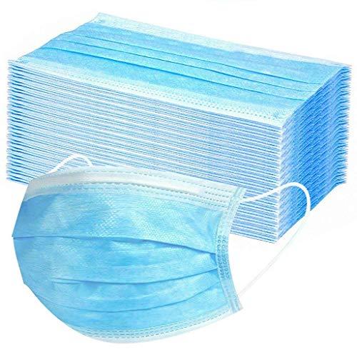 50 Stück Mundschutz Masken Mund-Nasen-Schutz Staubmasken mit Ohrenschlaufe, Blau Einweg Vlies Atemschutz...