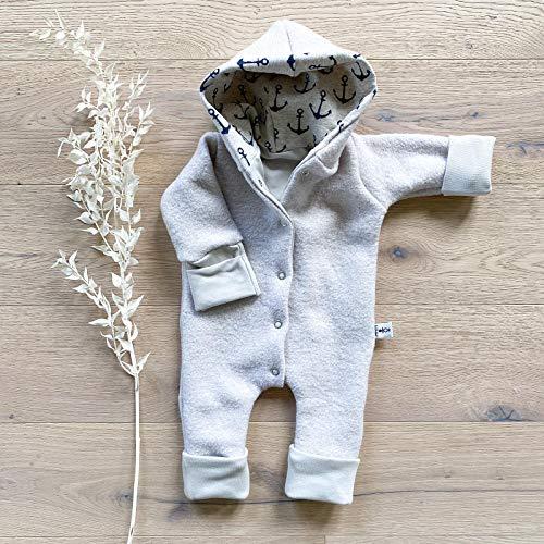 Wollwalk Overall Sand - Anker Beige meliert mit Kapuze und umklappbarer Arm- und Beinbündchen - Baby Jungen...