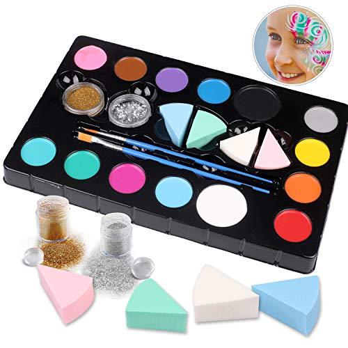 Hoiny Kinderschminke Set Face Paint Set,14- Professionelle Schminkfarben,Ungiftig,Makeup für Halloween,...