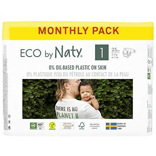Eco by Naty, Größe 1, 100 Windeln, 2–5 kg, MONATSVORRAT, pflanzliche Premium-Bio‑Windeln mit 0% Plastik...