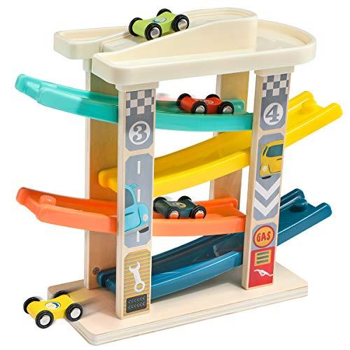 TOP BRIGHT Spielzeug-Autos für 1- und 2-Jährige - Kleinkind-Autostrecke mit 4 Mini-Autos - Hochwertiges Holz...