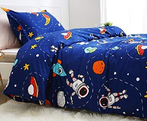 Lanqinglv Bettwäsche 135x200cm Kinder Kinderbettwäsche Babybettwäsche Blau Weltall Sternenhimmel Universum...