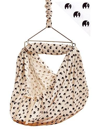 LaLeLu Federwiege | Babyhängematte (100% BIO-Baumwolle - Handmade - bis 15 kg - Elefantenmuster) - ALLE...