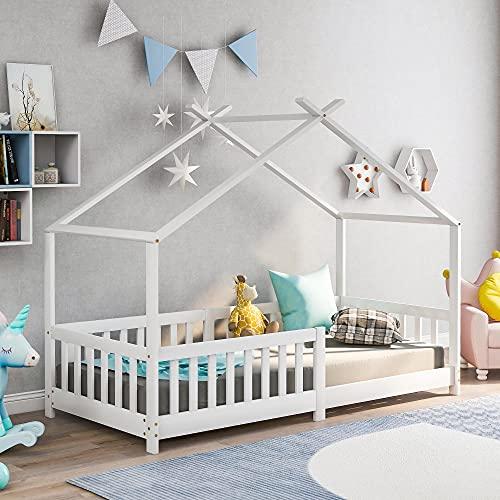 Kinderbett,Schönes Hausbett,Vollholz mit Zaun und Lattenrost, mit Rausfallschutz für Kinder- und...