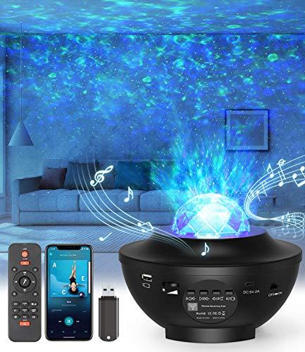 LED-Sternenhimmel Projektor,Rotierendes WasserwellenproJektorlicht,Ferngesteuertes Nachtlicht,Farbwechselnder...