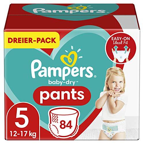 Pampers Windeln Pants Größe 5 (12-17kg) Baby Dry, 84 Höschenwindeln, MONATSBOX, Einfaches An- und...