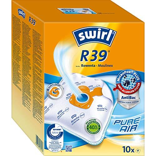 Swirl R39 MicroPor Plus Staubsaugerbeutel für Rowenta und Moulinex Staubsauger 10er Pack, 10 Stück + 2...