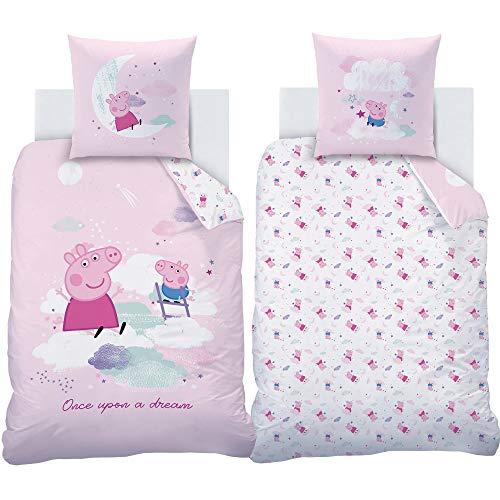 Mädchen Biber-Kinder-Bettwäsche Peppa Wutz Pig Chirpy 135 x 200 cm + 80 x 80 cm Lila Rosa Pink 100%...