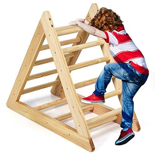 COSTWAY Kletterdreieck aus Holz, Klettergerüst für Kleinkinder ab 3 Jahren, zur Entwicklung grobmotorischer...