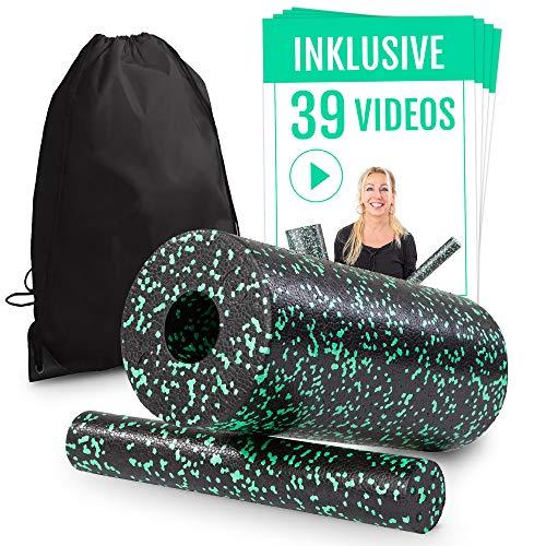 Faszienrolle Set 2 in 1 inkl. Spezial-Videokurs für Einsteiger   Massagerolle für ein straffes Bindegewebe  ...